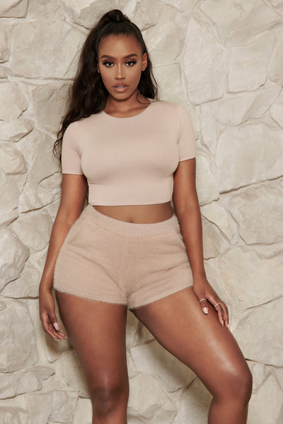 Kennedy Short Sleeve Cropped T-Shirt - Nude