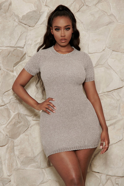 Nadia Chenille Short Sleeve Mini Dress - Grey - MESHKI