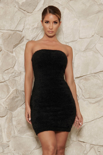 Luna Fluffy Strapless Mini Dress - Black