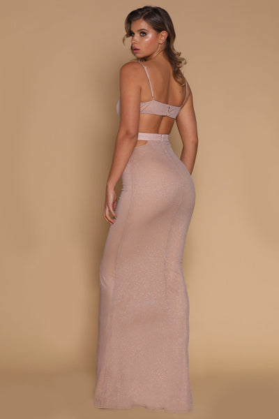 Mischa Cut-out Waist Maxi Dress - Rose Gold - MESHKI