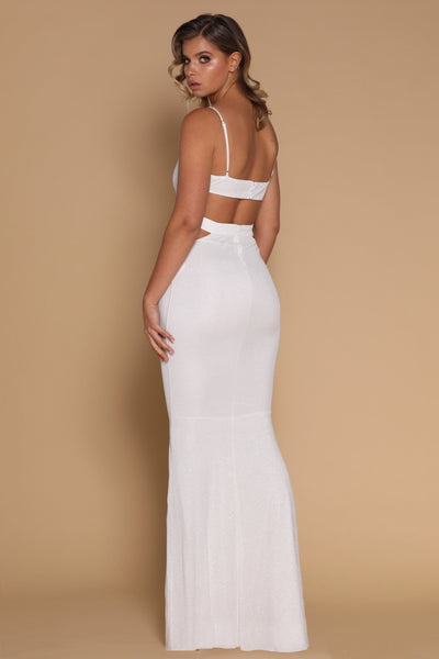 Mischa Cut-out Waist Maxi Dress - White - MESHKI