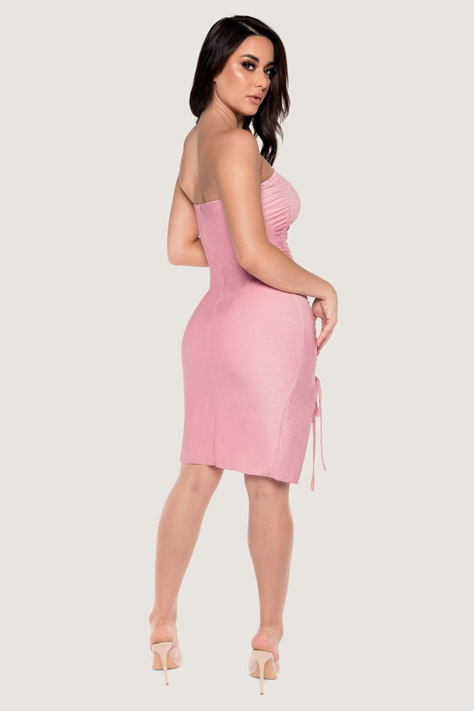 Nellie Ruched Side Shimmer Mini Dress - Baby Pink - MESHKI