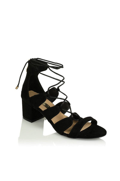 Tamilla Lace Up Low Block Heel - Black Suede - MESHKI