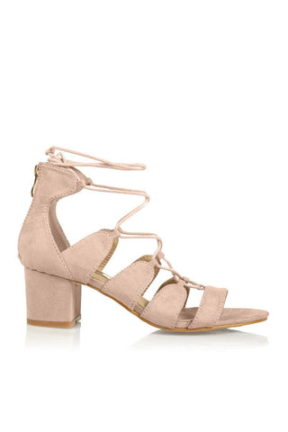 Tamilla Lace Up Low Block Heel - Blush Suede