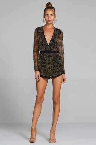 Petrani Beaded Playsuit - Black