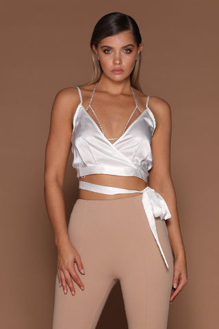 Odelia Satin Wrap Crop Top - White - MESHKI