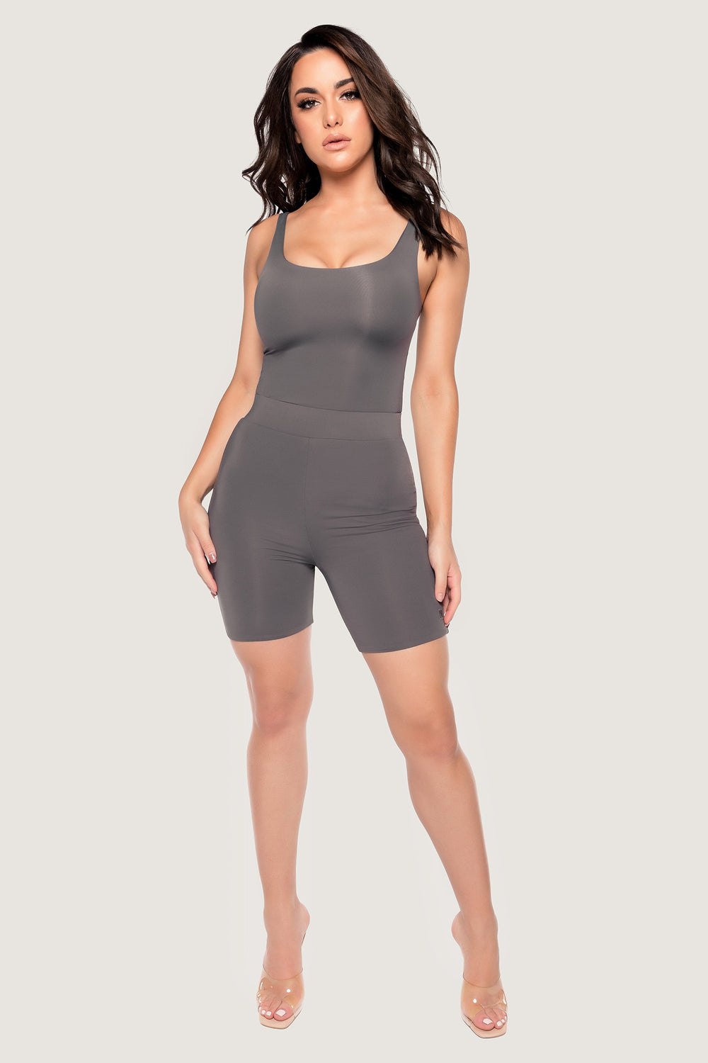 Jaelyn Thick Strap Scoop Neck Bodysuit - Charcoal - MESHKI