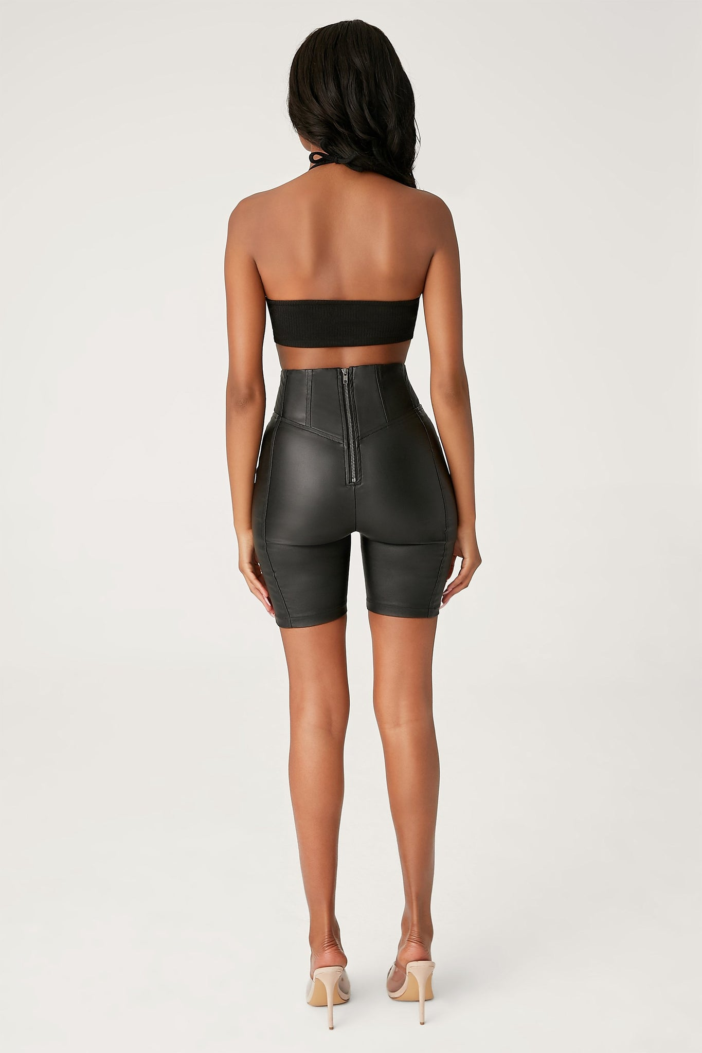 Zoe Leatherette Corseted Bike Shorts - Black - MESHKI