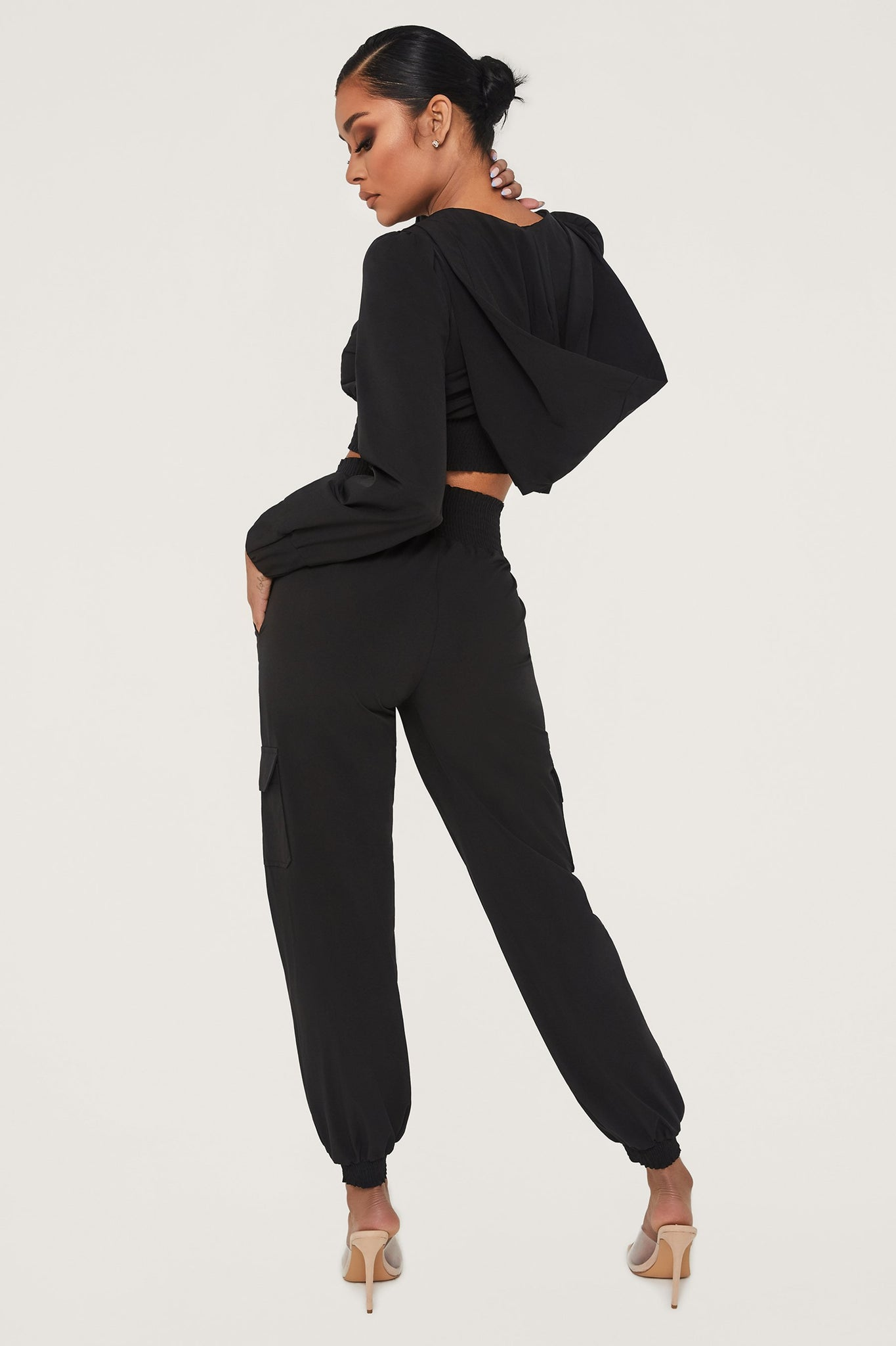 Xena Zip Up Cargo Pants - Black - MESHKI