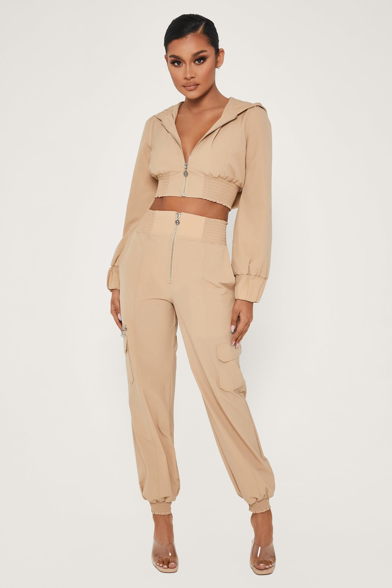 Xena Zip Up Cargo Pants - Nude - MESHKI