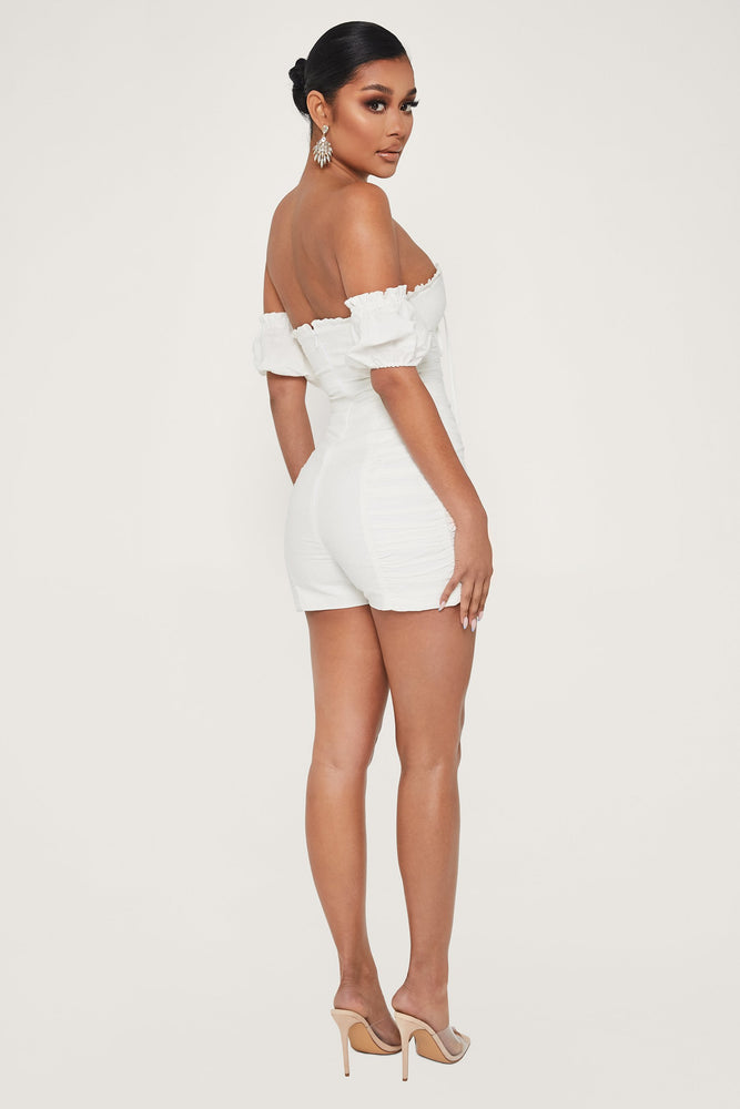 Alexina Ruched Off The Shoulder Playsuit - White - MESHKI