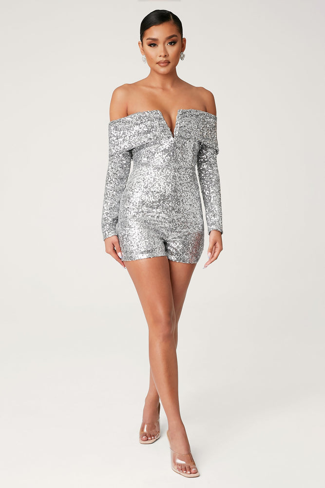 Kella Sequin Off The Shoulder Playsuit - Silver - MESHKI