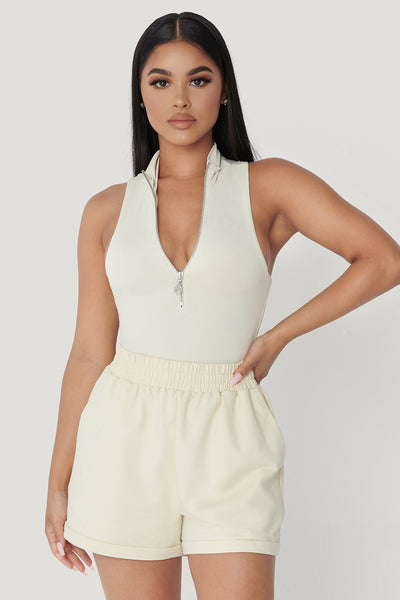 Paulina Sleeveless High Neck Zip Bodysuit - Sand