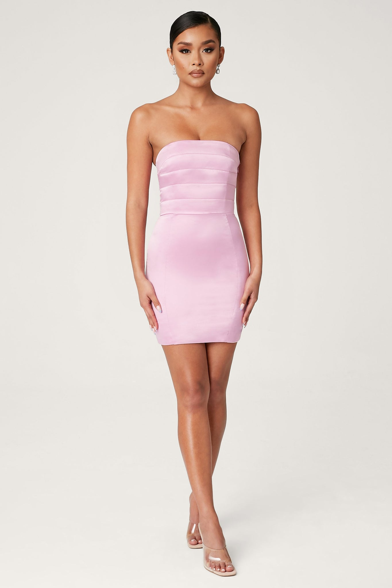 Alline Strapless Satin Mini Dress - Pink - MESHKI