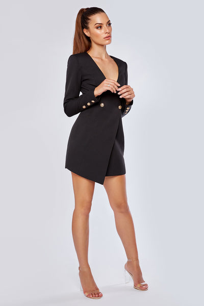 Pamela Collarless Double Button Blazer Dress - Black - MESHKI