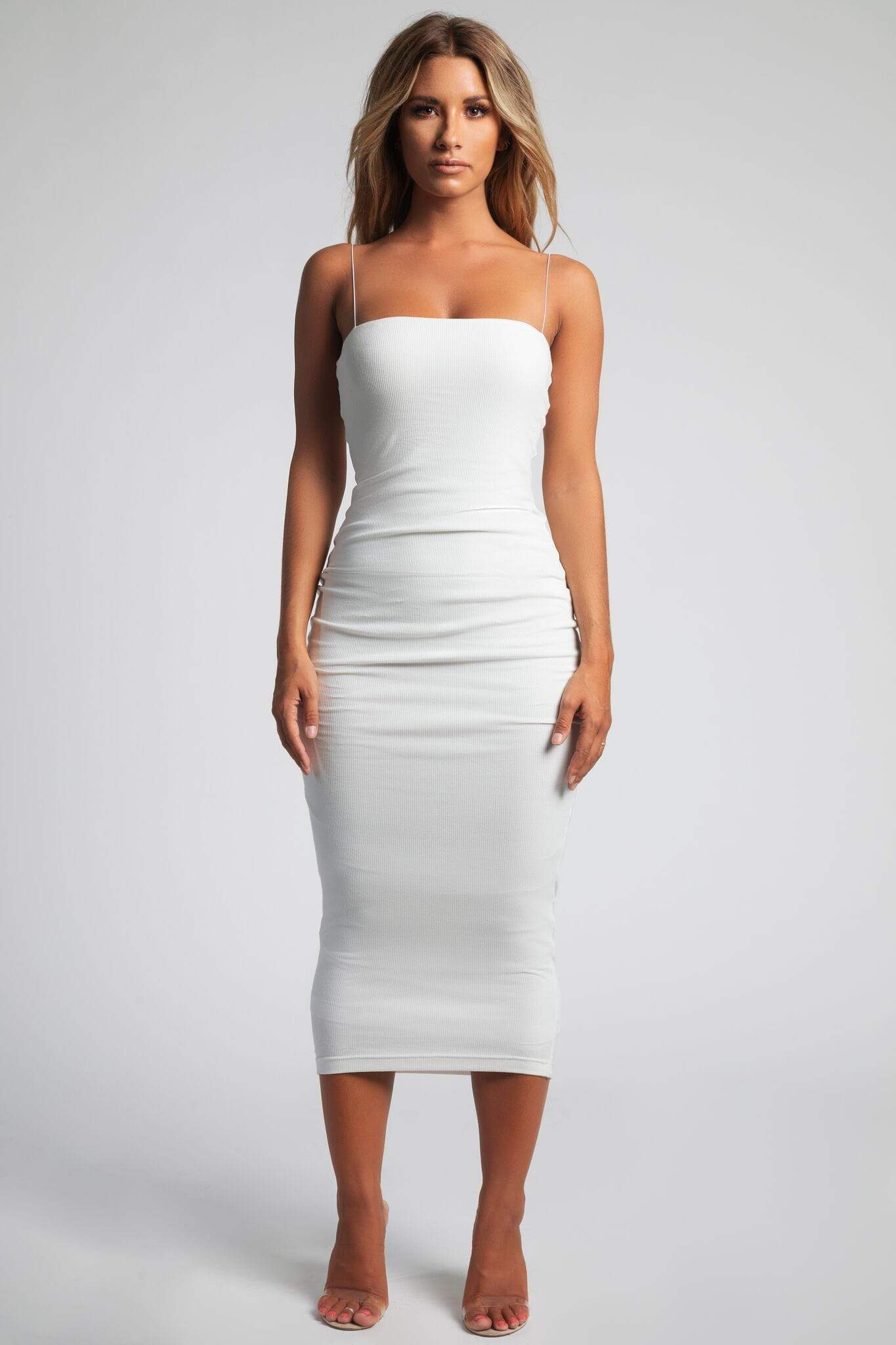 c3b8304262 Jalia Thin Strap Ribbed Maxi Dress - White - MESHKI