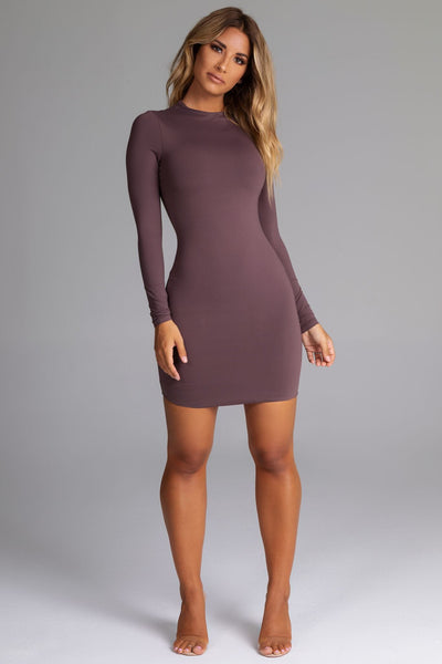 Kylie Long Sleeve Mini Dress - Mauve - MESHKI