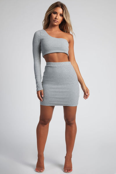 Evon Ribbed Knit Mini Skirt - Grey - MESHKI