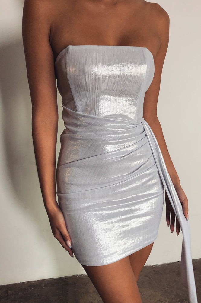 Selma Strapless Sash Ruched Dress - Silver - MESHKI