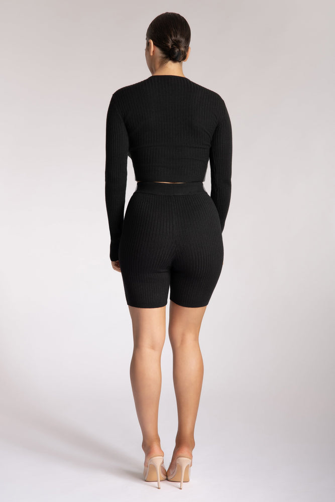 Vikki Rib Knit Bike Shorts - Black - MESHKI