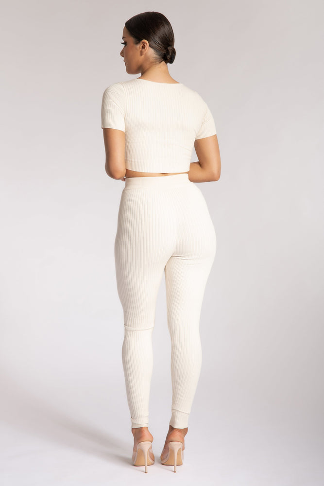 Nina Rib Knit Leggings - Cream - MESHKI