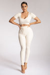 Nina Rib Knit Leggings - Cream