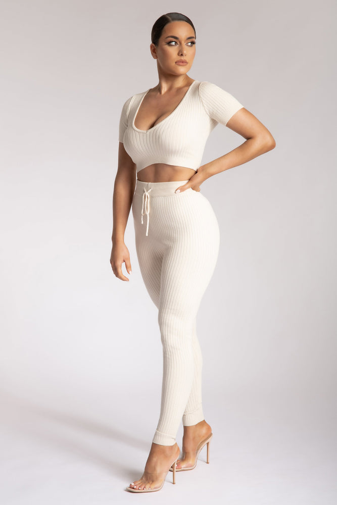 Nina V Neck Crop Top - Cream - MESHKI