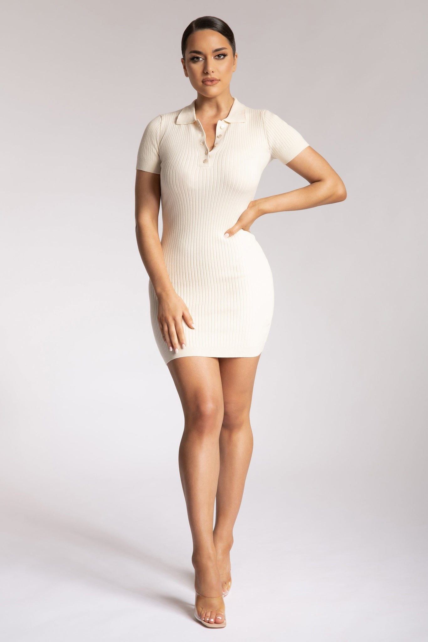 Cece Short Sleeve Polo Mini Dress - Cream - MESHKI