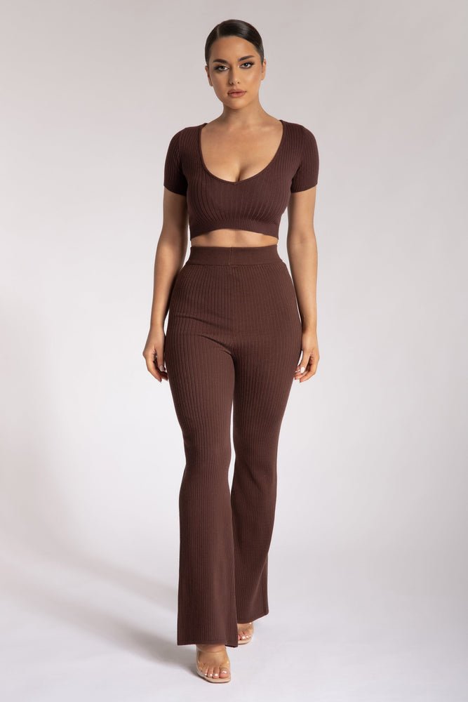 Alex Rib Knit Wide Leg Pants - Chocolate - MESHKI