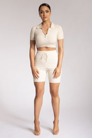 Vikki Rib Knit Bike Shorts - Cream - MESHKI