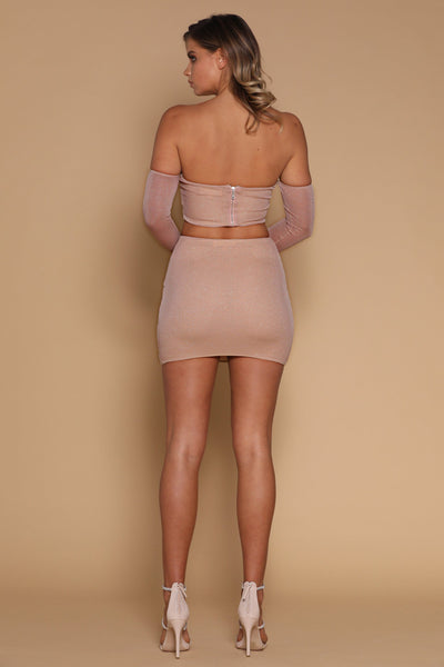 Lauretta Mini Skirt - Rose Gold - MESHKI