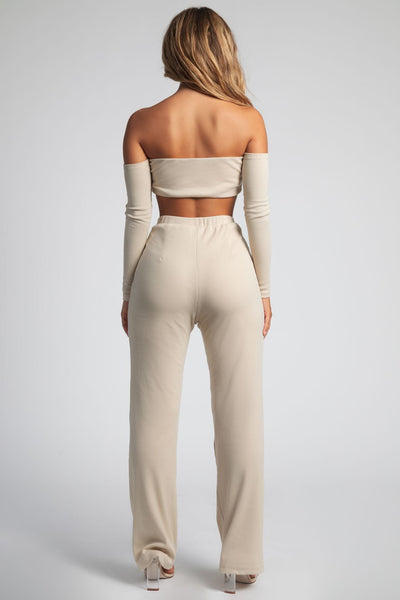 Phoebe Ribbed Wide Leg Lounge Pants - Nude - MESHKI