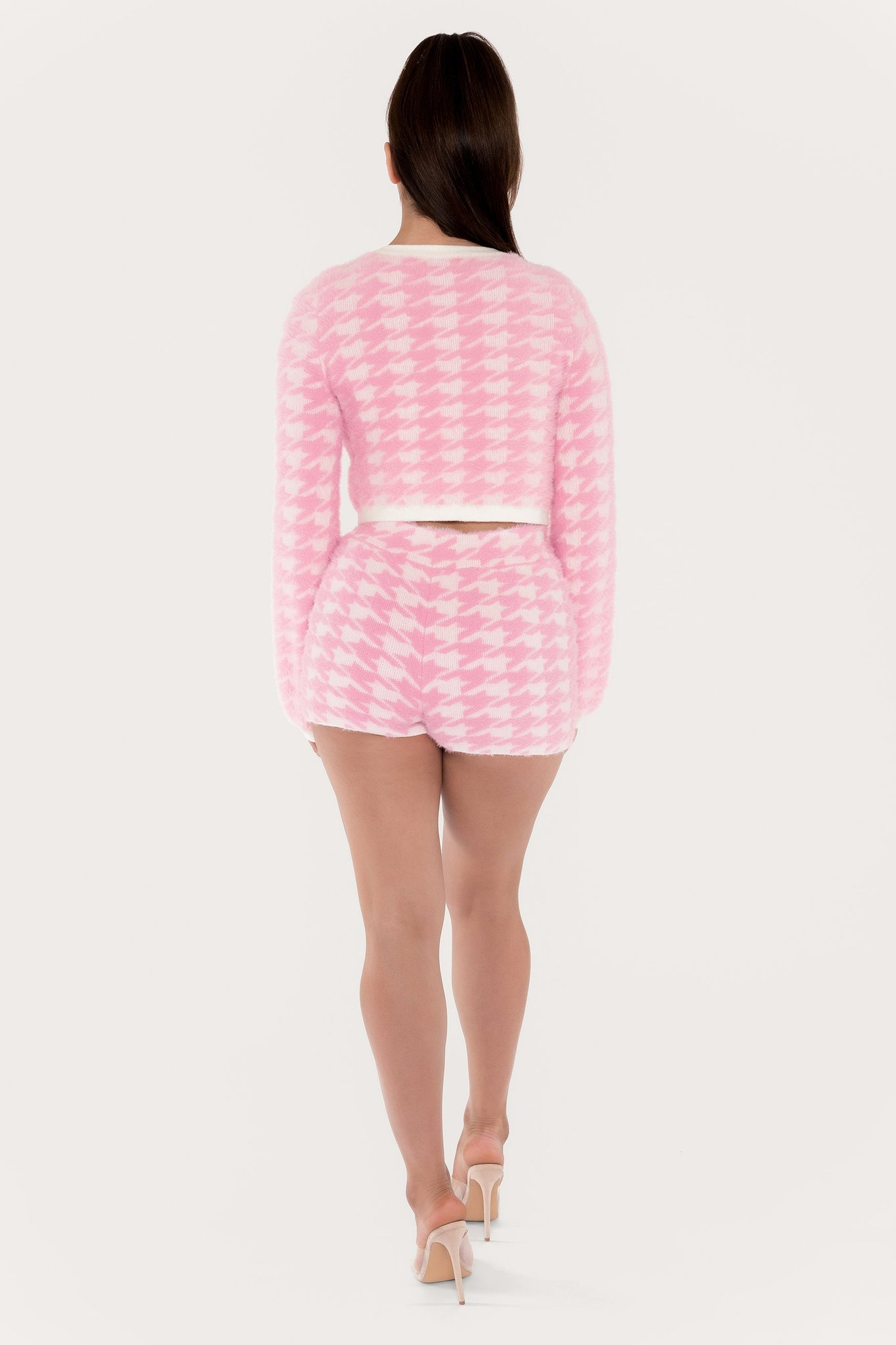 Nancy Houndstooth Fluffy Shorts - Pink - MESHKI