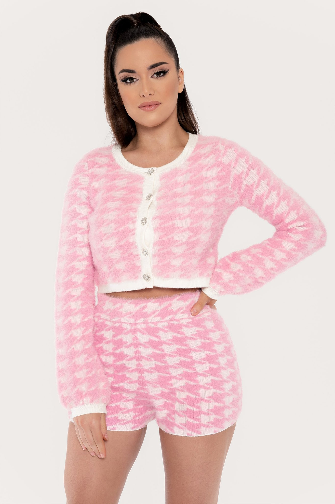 Nancy Houndstooth Fluffy Button Through Cardigan - Pink - MESHKI