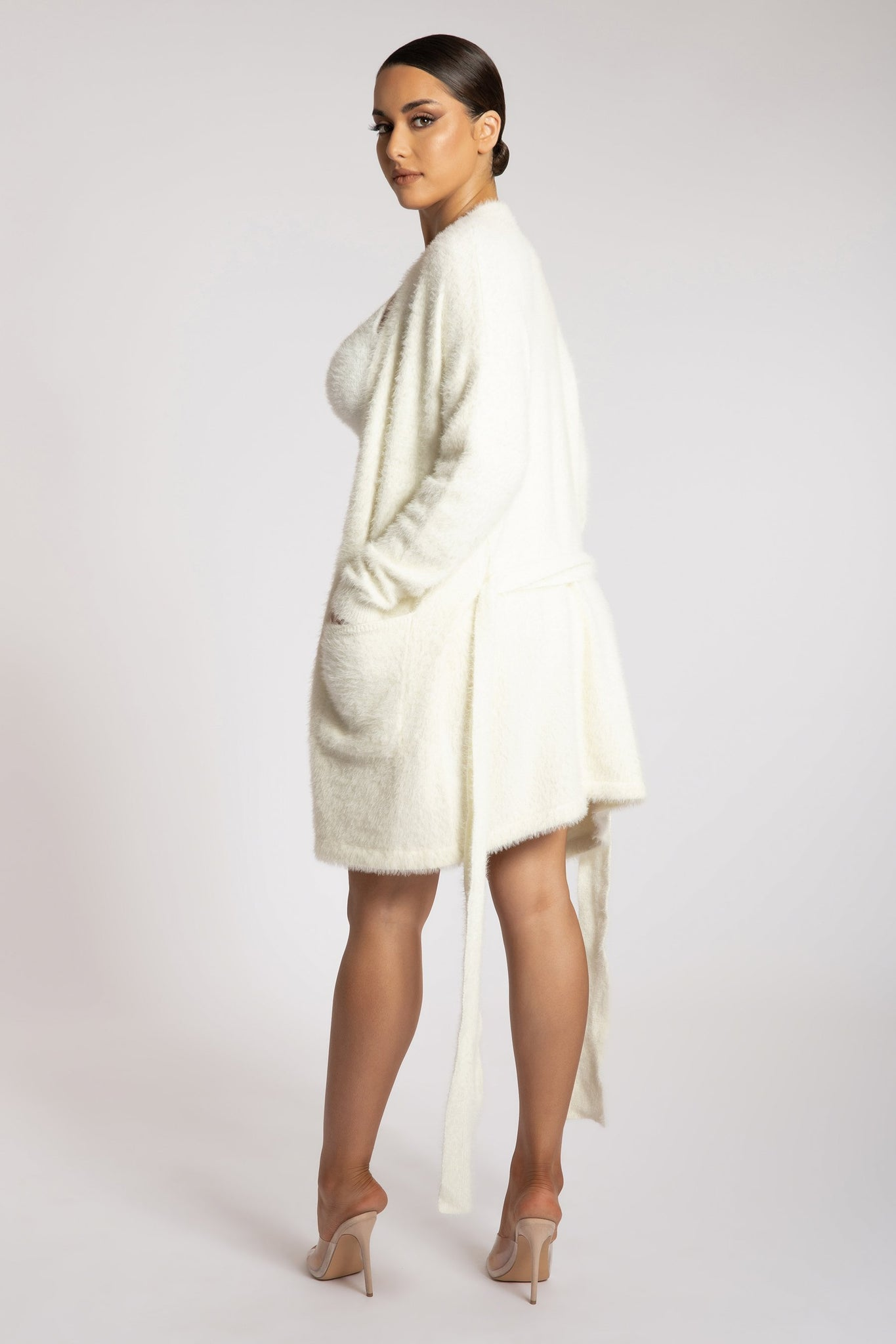 Siobhan Long Line Fluffy Cardigan - Cream - MESHKI