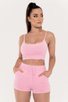 Katria Fluffy Crop Top - Pink