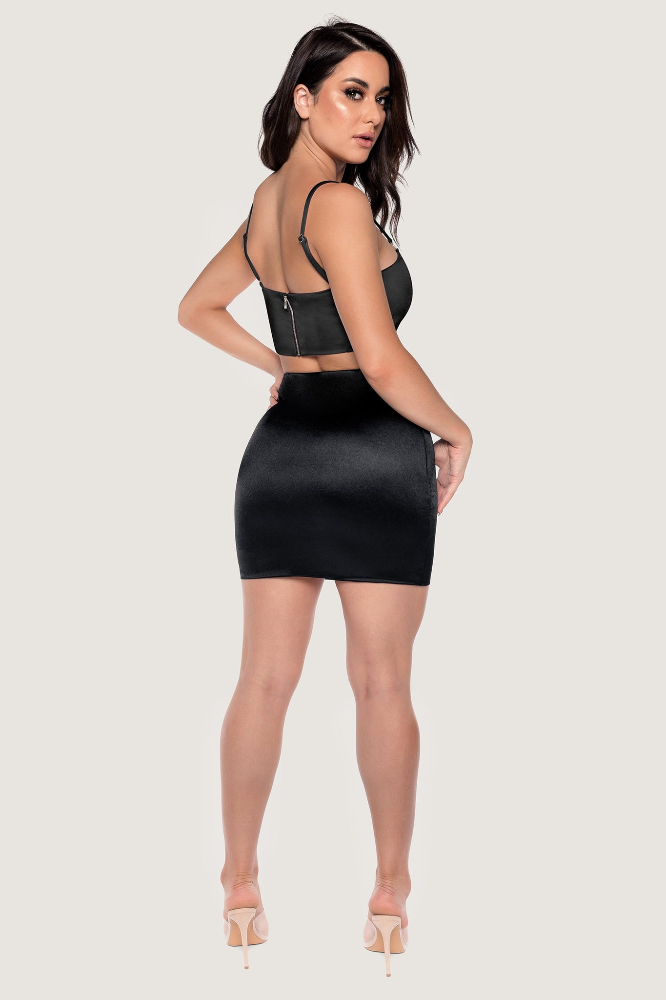 Mabella Meshki Logo Satin Cut Out Mini Skirt - Black - MESHKI