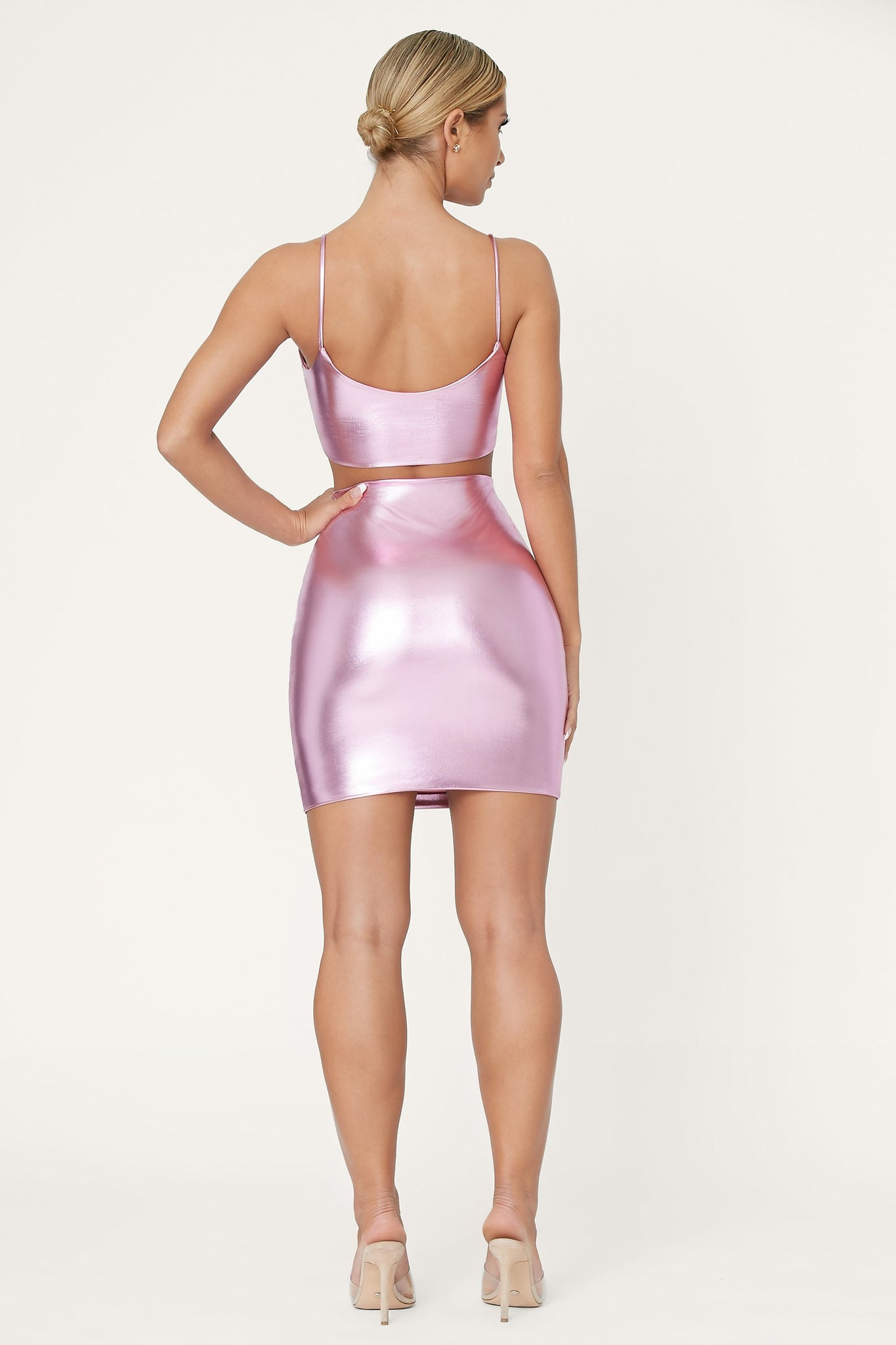 Zumi Metallic Mini Skirt - Pink - MESHKI