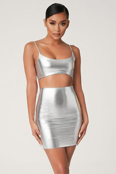 Zumi Metallic Mini Skirt - Silver