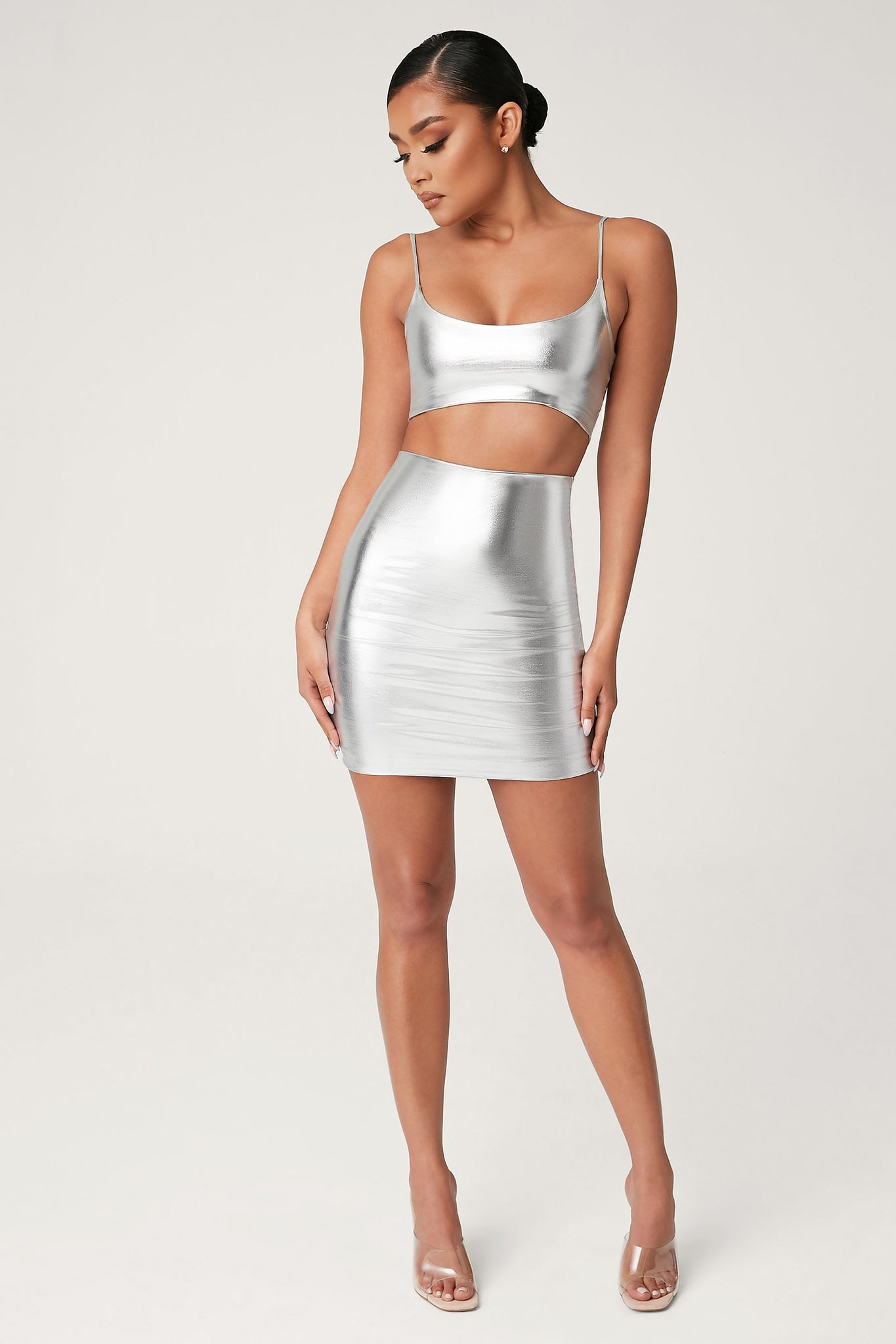 Zumi Metallic Mini Skirt - Silver - MESHKI