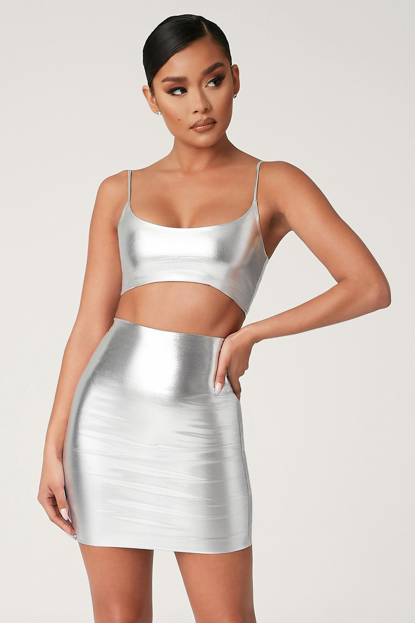 Zumi Metallic Crop Top - Silver - MESHKI