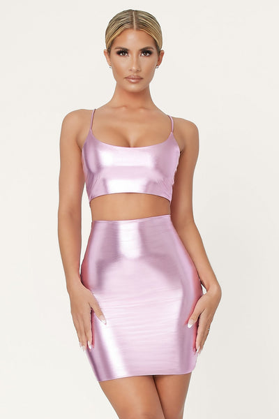 Zumi Metallic Mini Skirt - Pink