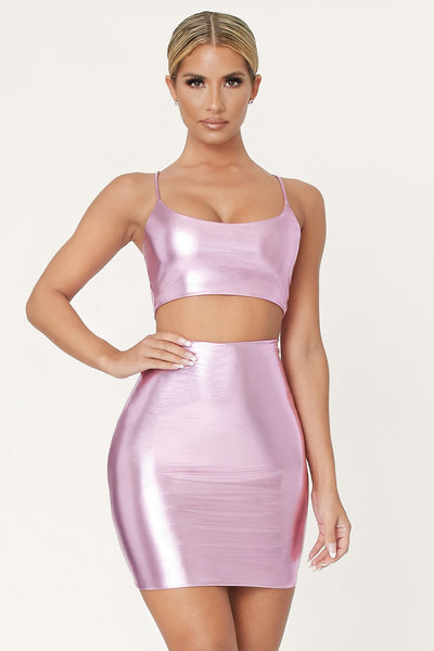 Zumi Metallic Crop Top - Pink