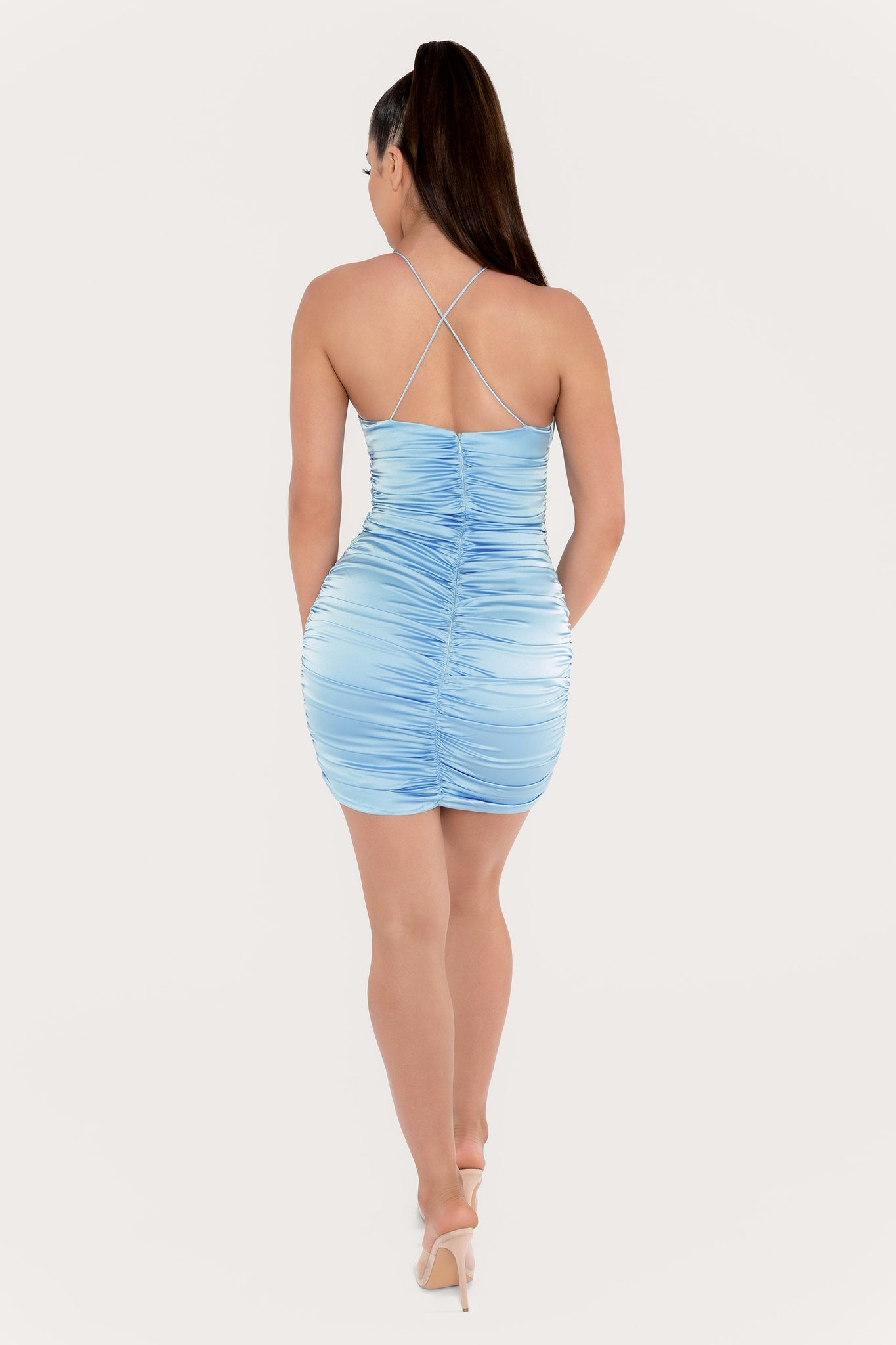 Kaela Ruched Front Tie Up Mini Dress - Dusty Blue - MESHKI