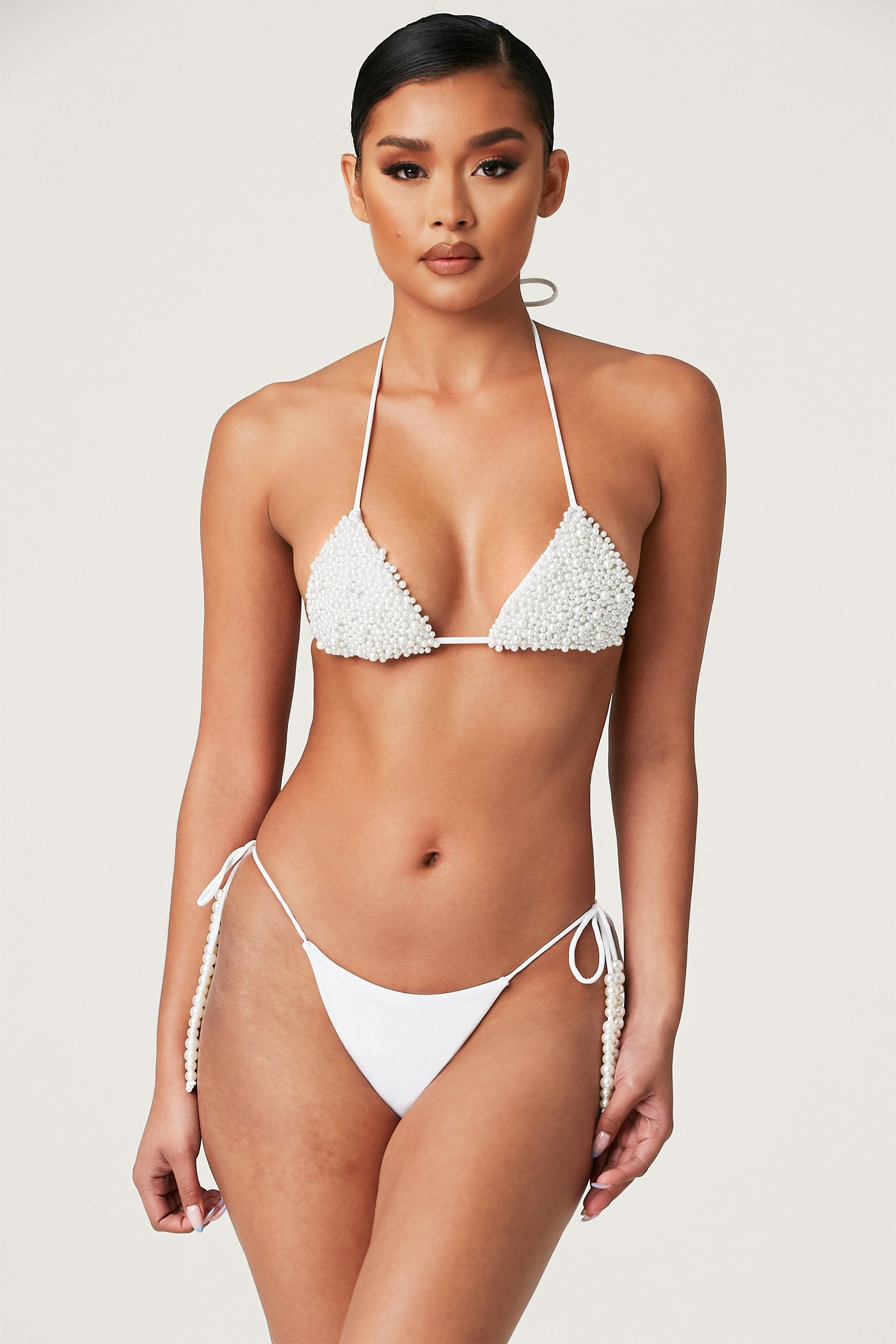Swim Brazilian Tie Side Bikini Bottom White