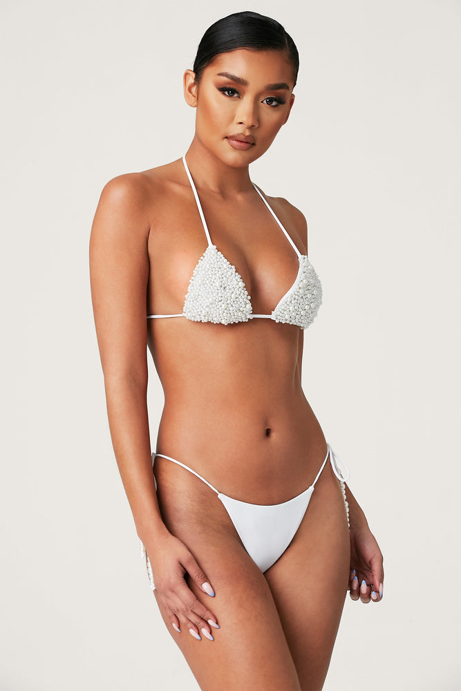 Arabella Pearl Triangle Tie Up Bikini Top - White - MESHKI