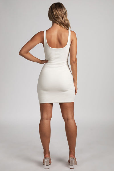 Danica Ribbed Body-con Mini Dress - Cream - MESHKI