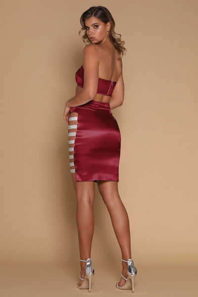 Sabra Diamante Panel Midi Skirt - Burgundy - MESHKI