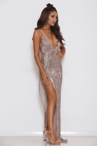 Beverly Sequin High Slit Gown - Rose Gold