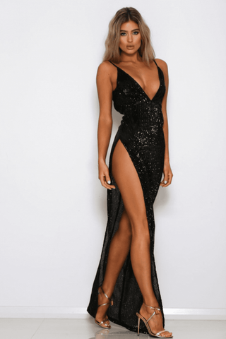 Beverly Sequin High Slit Gown - Black